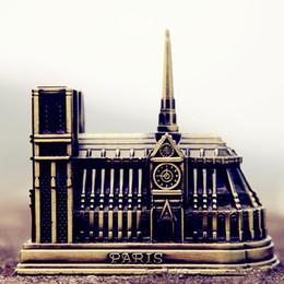 figurine di alta qualità Sconti Notre Dame de Paris Modello Francia famoso edificio moda metallo arti e mestieri studio ufficio ornamento regalo 10 cm