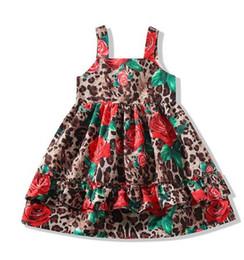 Patrones impresos rosa roja online-Patrón de verano Red Rose imprimió el vestido de las muchachas etiqueta de Marca Vestido sin mangas para Girl estampado leopardo diseñador vestidos de Rose