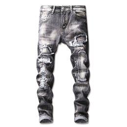 Pantalon vintage hommes à carreaux en Ligne-Skinny Jeans pour Hommes Printemps Vintage Denim Jeans 2019 stretch Trou Ripped Homme Zipper Pantalon droit Casual