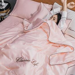 rosenbettdecken Rabatt Heimtextilien Rosa Bettwäsche-Set Superweiche, komfortable Luxus-Stickerei aus 100% Baumwolle und gewaschener Seide Bettlaken für Erwachsene