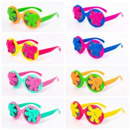 Gafas de sol reflectantes uv online-Marco de los niños gafas de sol de palma palma del verano Gafas de dibujos animados Googles de protección UV gafas de sol reflectantes para niños 8 colores CCA11832-A 200pcs