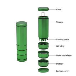 Трава мюллер онлайн-Автоматический выброс Dugout Grinder Портсигар Металлический алюминиевый карманный портсигар Композитный портсигар Dry Herb Hand Muller
