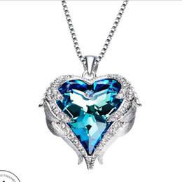 conjunto de joyas con elementos de cristal de swarovski de corazón Rebajas Pendientes del collar del corazón del cristal austriaco del océano con Swarovski Element Azul europeo Conjuntos de joyería de boda para novias