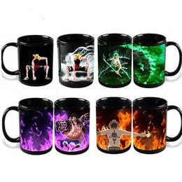 Anime One Pieces Caneca em mudança da cor xícaras de chá e canecas mágica engraçada do Mark cerâmica Copos Luffy Zoro Ace de Fornecedores de copos de copos piratas