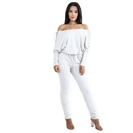 7518a9bae37 New Fashion Sexy Women Solid Off Shoulder Jumpsuit Lace Up Eyelet Holes Long  Sleeves Bandage Bodycon Clubwear Romper Playsuit