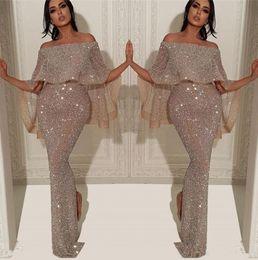 Nouvelle Robe De Soirée Longue De Paillettes Brillantes Sirène 2019 Arabe Bateau Cou De L'épaule Fendue Pageant Formelle De Bal Robes ? partir de fabricateur