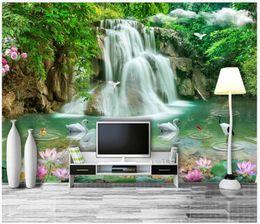 cachoeiras fotográficas Desconto Personalizado 3d silk photo murals wallpaper tridimensional paisagem cachoeira paisagem 3d tv sofá papel de parede de fundo para paredes 3d