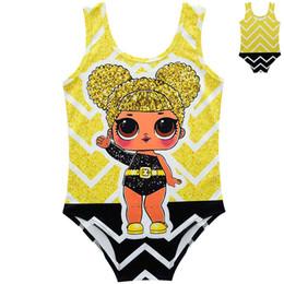 3k bikini online-Costumi da bagno per bambini bambola stampata estate nuoto costume da bagno bambino bikini bambini one pezzi sorpresa costume da bagno spiaggia abbigliamento cca11593 10 pz