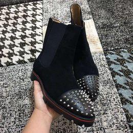 stivali da calzatura Sconti 2019 di alta qualità rossi caricamenti del sistema della caviglia inferiore per gli uomini Spikes le dita dei piedi di lusso della calzatura Slip On Booties festa all'aperto fannulloni sposa c01