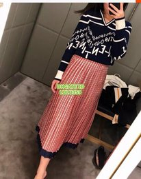 2019 pannello esterno a matita blu scuro 2019 Lettera da donna Mezza minigonna Sopra il ginocchio Moda Colore naturale Dritto L'abbigliamento femminile di alta qualità S-M-L