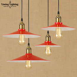 Luzes pingente vintage vermelho on-line-Modern LED Red Iron Pendant Lamp Vintage Pendurado E27 Luz Loft Estilo Bar / restaurante Sala de estar Quarto Luminária 220 v