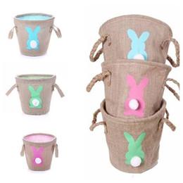 Süße totes online-Mode Ostern Leinen Korb niedlichen Geschenke Tote Handtaschen Double Raised Basket Rabbit Sackleinen Taschen Parteibevorzugung EEA497