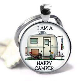 Feliz Camper Lover Imagem Pingente Handmade Keychain, Personalizado chave Citação Citação Jóias Pingente de Vidro Cúpula chaveiro de