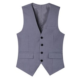 men s light gray suits Promo Codes - Pure cot high-quality goods High-end wedding dress and groom pure color suit vest Men Light Grey slim business suits vest Male