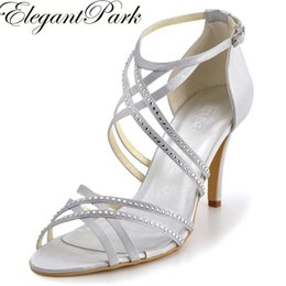 "ivory satin wedding sandals Promo Codes - Sexy Women Sandals EP11062 Open Toe Silver Cross Strap Rhinestone 3.5"" Heel Shoes Satin Wedding Evening Pumps Woman Shoes"
