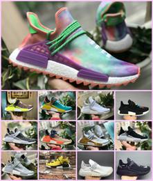 zapatos originales de la raza humana Rebajas 2019 Original Pharrell Williams RACE humano HU NMD Trail para hombre diseñador de calzado deportivo para hombre zapatillas de deporte de las mujeres entrenadores al aire libre US5-12
