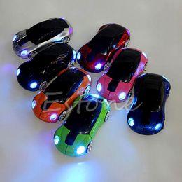 Carro em forma de mouse óptico sem fio on-line-P 2.4 GHz 1600 DPI Rato Sem Fio USB Receptor de Luz LED Super Car Forma Optical Mice Alimentado Por Bateria (não incluído)
