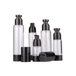 15ml 30ml 50ml vazio Preto Airless Lotion Creme Bomba recipiente plástico Vácuo spray Dispenser Bottle Cosmetic para o curso Doubtless Bay de