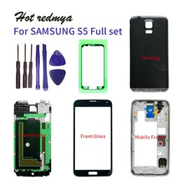 Samsung galaxy s5 pièces en Ligne-S5 Plein de cas de logement pour Samsung Galaxy S5 G900F Middle Frame + Joint en caoutchouc Retour Case + Lentille en verre Auto Parts +