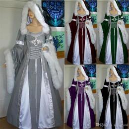 2019 roupas de vestuário vintage Mulheres Frente Lace Up Corset Tribunal Maxi Robe vestido Outfit Inverno S-3XL Medieval Gothic Fur Vintage Collar traje vestido com capuz