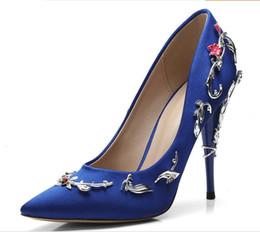 Ральф Руссо розовый Синий Черный Удобная Дизайнерская Свадебная Свадебная Обувь Шелковая Пятно Eden Туфли на Каблуках для Свадебной Вечеринки Обувь для Выпускного Вечера cheap blue silk heels от Поставщики синие шелковые каблуки