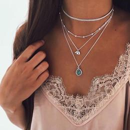 Conjunto de joyas de turquesa online-Collar de turquesa joyas Golded Elephant Crystal Bead Colgante Collar de múltiples capas Lady Fashion Beach Party Joyería Collar de niña Conjunto
