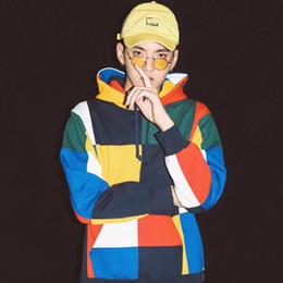 China hoodies online-Suprême19fw Designer Hoodie China Hip Hop Wu Yifan mit dem gleichen Paar Farbe Nähen Hoodies Luxusqualität Boutique Flut Marke Pullover