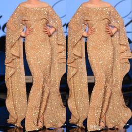 2019 berühmtheit, die paillette bördelt Luxus Dubai Arabische Abendkleider Mit Cape Appliques Sparkle Kristall Pailletten Celebrity Kleider 2019 Neue Ankunft Prom Party Wear günstig berühmtheit, die paillette bördelt