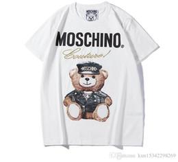 2019 Verão Nova Moschin moda Tee de Algodão de Manga Curta Respirável Das Mulheres Dos Homens Moschinos Swing Bear Casual Ao Ar Livre Streetwear T-shirt de