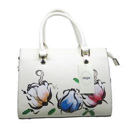 Couro genuíno senhoras bolsa branco on-line-Real Leather Branco Mulheres Handbag Floral Lady Colorific sacos de moda elegantes meninas encantadoras Genuine Bolsas de couro grátis