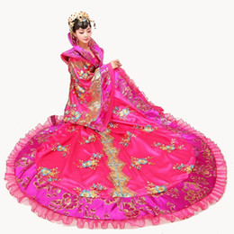blue chinese costume Promo Codes - Hot Pink Slap-up Tang dynasty queen costume noble formal wear fairy costume tailing female Chinese ancient Hanfu show