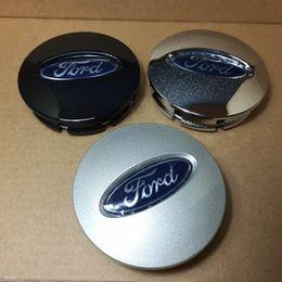 2019 casquillos centrales de rueda de ford Para Ford Edge Explorer Cubo de la rueda Casquillo central Cubiertas de la caja de la rueda Emblema 66 mm Electroplate / plata / negro 4PCS / SET rebajas casquillos centrales de rueda de ford