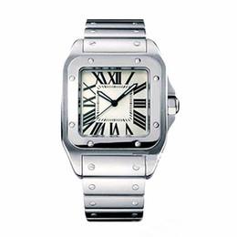 2020 luxusuhren quadratisches gesicht Luxus-Quarz-Quadrat-Vorwahlknopf-Mann-Uhr-römische Ziffern Weiß Face Full-Silber-Edelstahl-Quarz-Bewegungs-Uhr-Art- Mens-Armbanduhr rabatt luxusuhren quadratisches gesicht