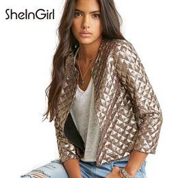 Veste losange en Ligne-SheInGirl Bomber Jacket Femmes Bolero Or Sequin Vestes Doux Casual Manteaux Pastille Mince Automne De Mode 3/4 Manches Outwear