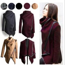 2019 асимметричные пальто для женщин Рождество зимняя одежда для женщин новые европейские и американские шерстяные смеси пальто дамы отделка личности асимметричные правила короткие куртки пальто дешево асимметричные пальто для женщин