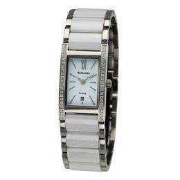 Каменные часы для женщин онлайн-2019 Ceramic Fasion Lady Watch with  Zircon Stone Bracelet Watches with Enamel Strap Women Dress Wristwatch reloj mujer