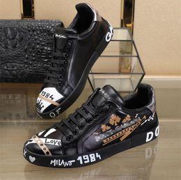 Leder geschmolzen online-mode luxus designer männer schuhe DOLCE gabbana PORTOFINO MELT SNEAKERS DG leder casual männer weiß ace Schuhe größe 38-44
