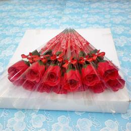 Dekorative hochzeit seifen online-Einzelne Stem Soap Blumen künstliche Rose Duftbadeseife für Hochzeit Valentinstag Muttertag Lehrer-Tag Dekorative Geschenk GGA3182