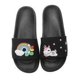 43d6db53ff5f Summer Slippers Women Shoes Cute Cartoon Animal Unicorn slippers 2019  Rainbow Flip Flops Women Outdoor Flat Beach Slides Sandals