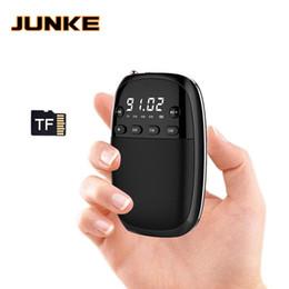 Argentina JUNKE FM / AM / SW Receptor de radio MP3 Player Mini radio portátil con batería recargable Toma de auriculares Soporte de tarjeta TF Juega Box Suministro