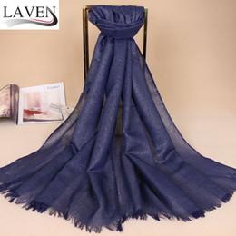 Cachecol glitter reluzente on-line-Laven Mulheres alta quanlity glitter prata algodão lurex xales hijab cor sólida lenços brilho cabeça cor 9 / lenço 180 * 70 centímetros