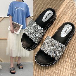 Fairy2019 Cool Other Clothes Ins Slipper Student Joker Paillette Flange One Drag Shoe Woman Summer