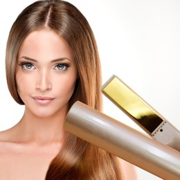 free dhl hair straightener Promo Codes - 2 in 1 Hair curler Hair Straightener Titanium Gold Plate with High Quality US EU UK plug with Sleeve 10pcs DHL Free