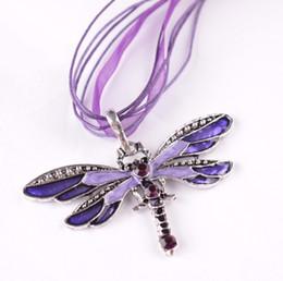 Libellen modeschmuck halsketten online-Heißer verkauf 6 Farben Vintage Emaille Libelle Kristall Anhänger Halsketten Organza String Halskette Halsketten modeschmuck