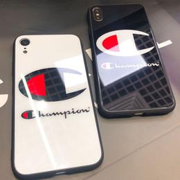 caso mais fino da bateria do iphone Desconto Alta qualidade campeão phone case luxo vidro hard iphone case capa protetora para iphone 6 7 8 plus x xr xs max