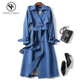 Outerwear clássico on-line-Clássico Mulheres Trench coat Moda Double Breasted Belt Longo Trincheira Casuais 2019 Primavera New Lady Business Outerwear alta qualidade