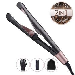 Encrespadores profissionais on-line-Profissional 2 em 1 placas torcidos cabelo alisador de ondulação varinha 3D cerâmica flutuantes encrespador de ferro plana