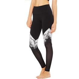 Pantaloni yoga bianchi caldi online-GYM Fashion Nuovi pantaloni yoga stampati in bianco e nero per il commercio estero europeo e americano di vendita calda pantaloni Yoga