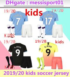 2019 2020 CIDADE KUN AGUERO MANCHESTER KIDS KIT STERLING Mahrez camisa do menino do futebol camisas de futebol JESUS De Bruyne SANE 2019/20 De Bruyne MENINOS de Fornecedores de jaqueta de ozil