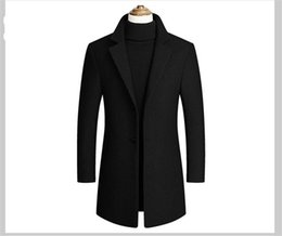 Largo cappotto del risvolto online-Moda Lapel Solid Collo Outwear Mens maniche lunghe Trench Primavera Autunno Mens Outwear con monopetto